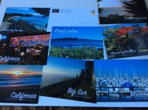 Postcards of Carmel by the Sea, Monterey Bay, Big Sur and Point Lobos with postage